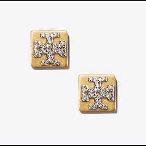 Authentic! New Tory Burch Block Stud Earrings